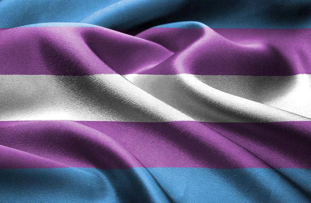 Flag with Monica Helm's Transgender pride flag design