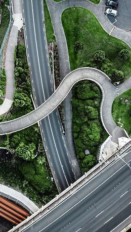 Aerial View of New Zealand Highway and pedestrian walkways