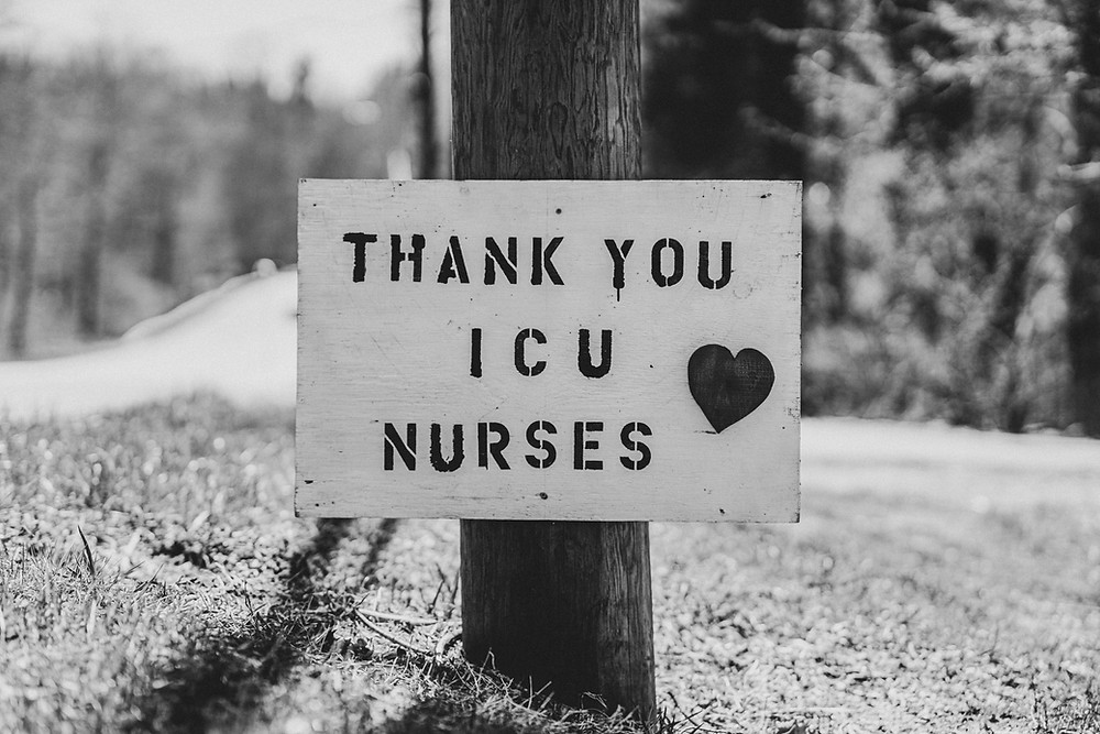 black and white signs stock image from up slash says thank you icu nurses with a heart