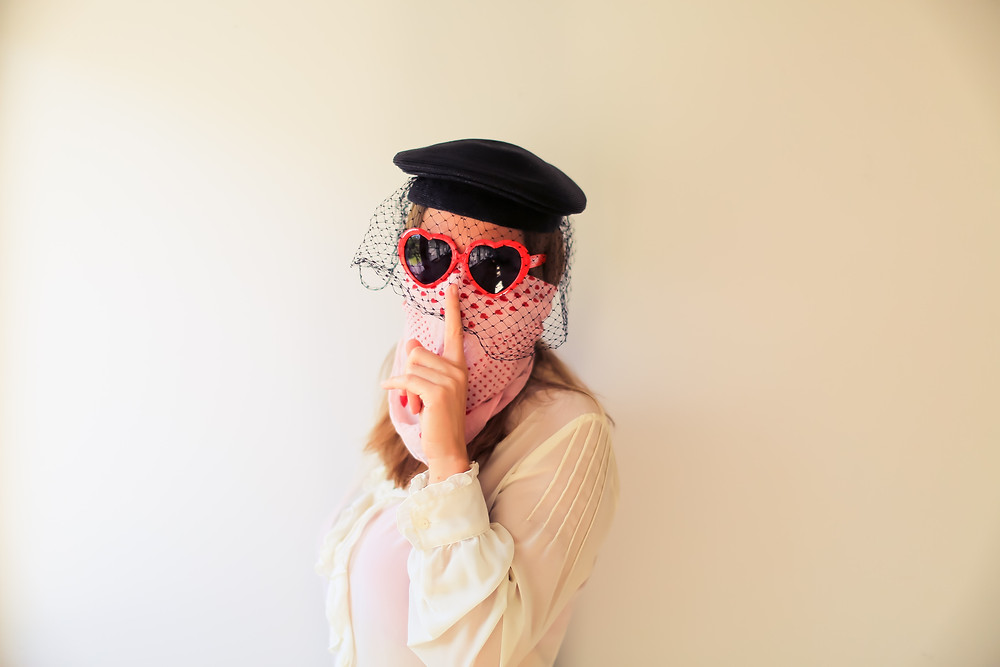 Woman wearing a disguise