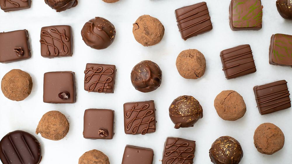 Diagonal rows of chocolate truffles
