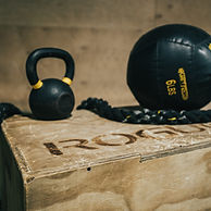 Workout equipment, medicine ball and kettlebell at the spot gym and cross training