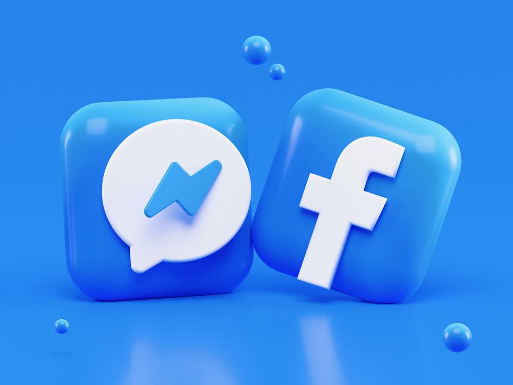 Montage 3D du logo de la page Facebook.