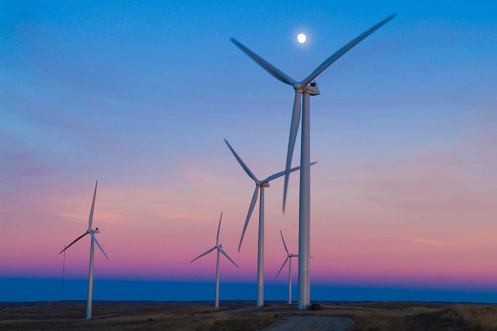 Wind turbines as sunset