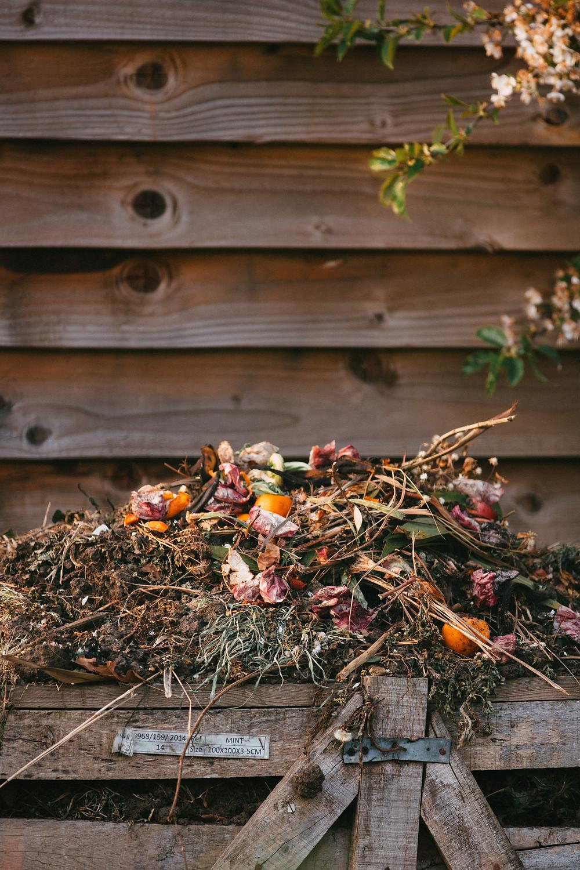 an over-full compost heap