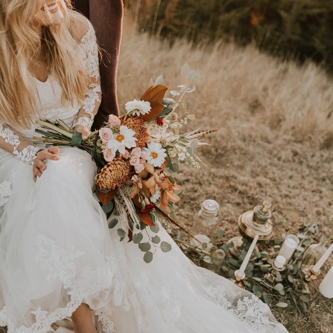 Boho micro wedding bride
