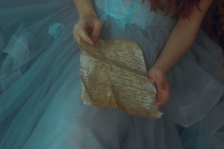 Girl in Beautiful Dress Reads Old Letter, Art Style Story 4.1, Image by SAMANTA SANTY