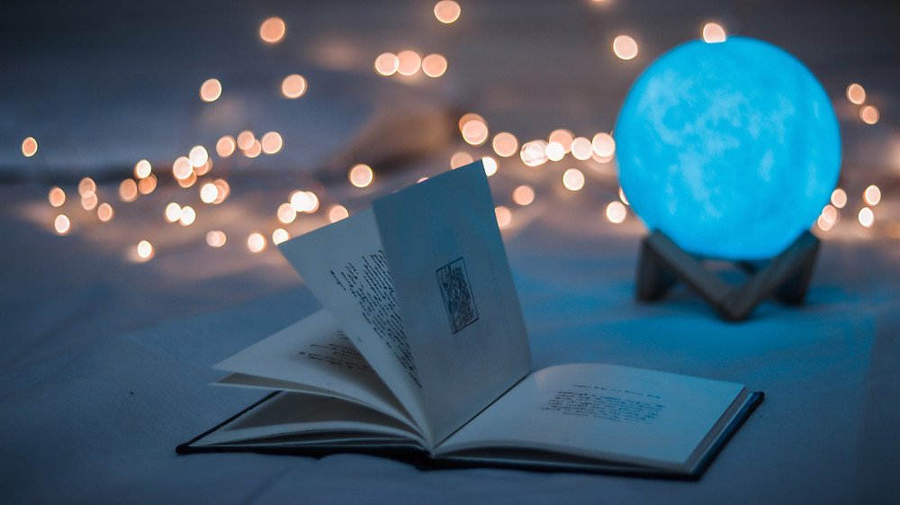 fairy lights with book and dome light