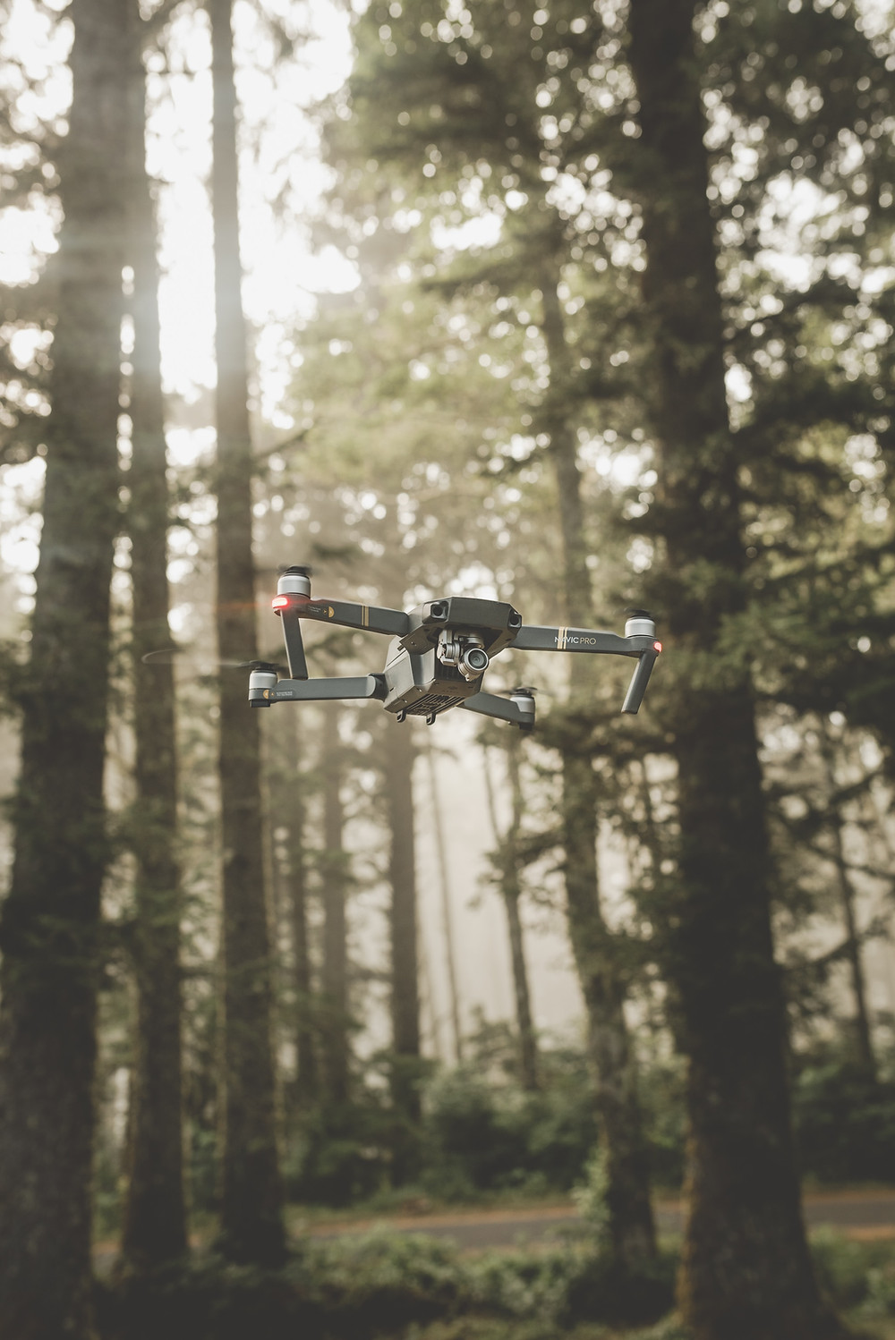 Picture of a drone flying in a forest