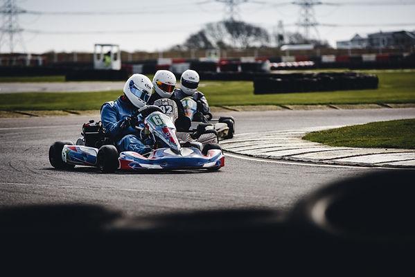 Boys on a Stag Do Go Kart racing