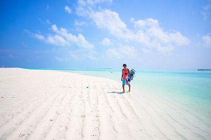 Kiteboarding white sand beach