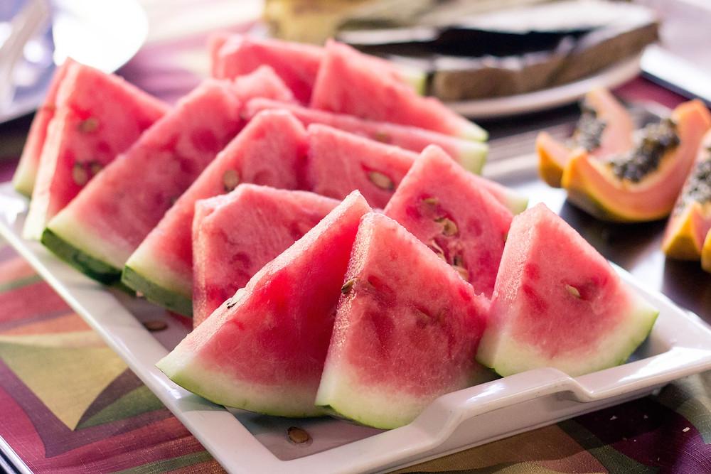 fresh cut watermelon slices