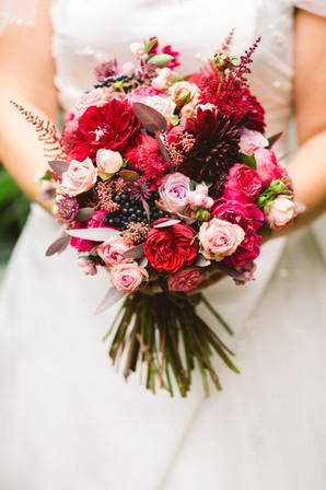 Red dahlia bridal bouquet