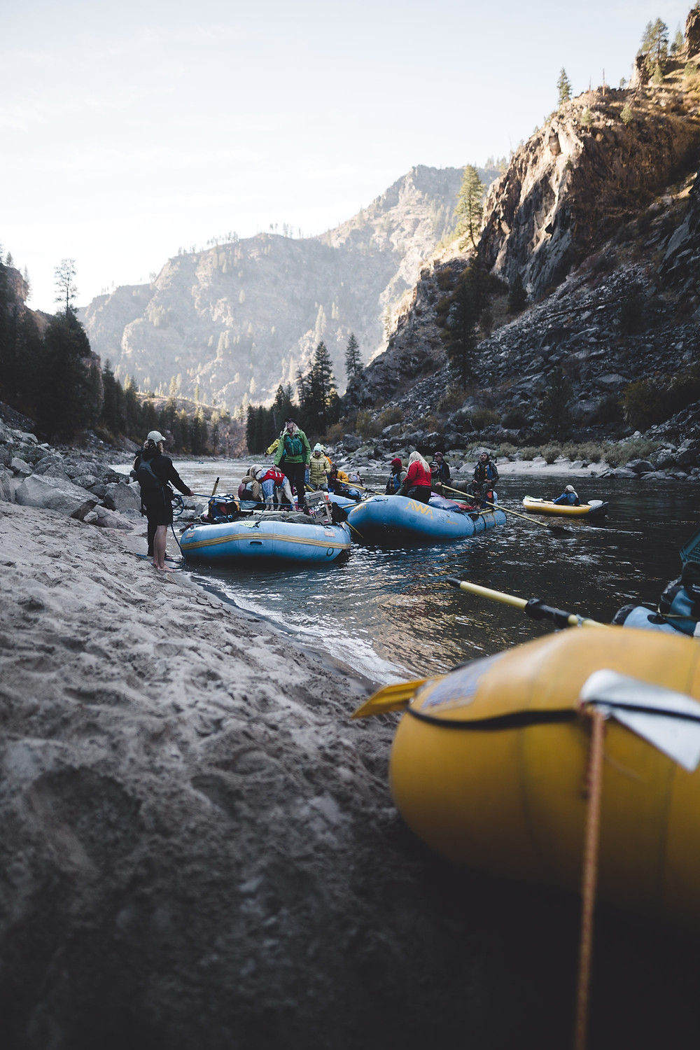 Group of people rafting a river