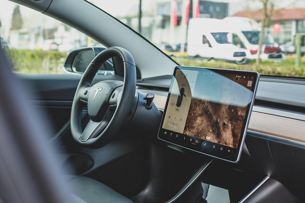 Tesla interior of screen LCD entertainment car computer