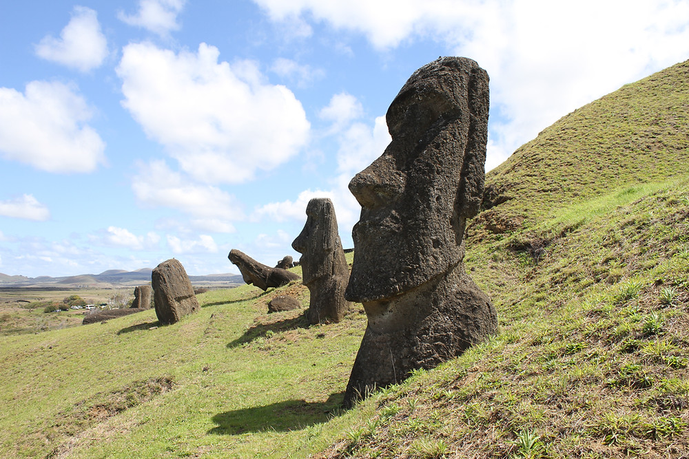 Faces statues in Easter Island