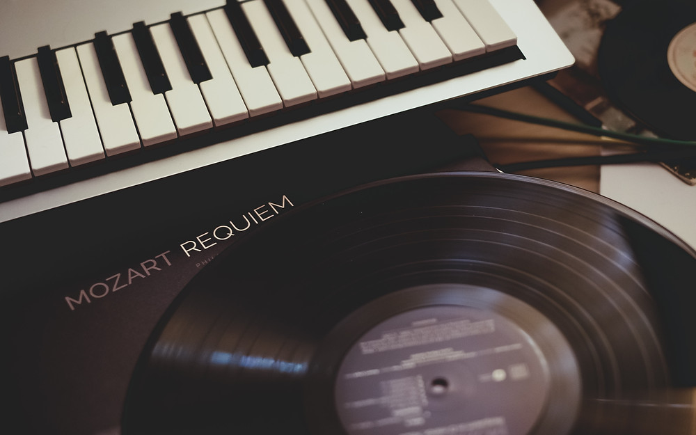 Vinyl Record of Mozart's Requiem and Musical Keyboard
