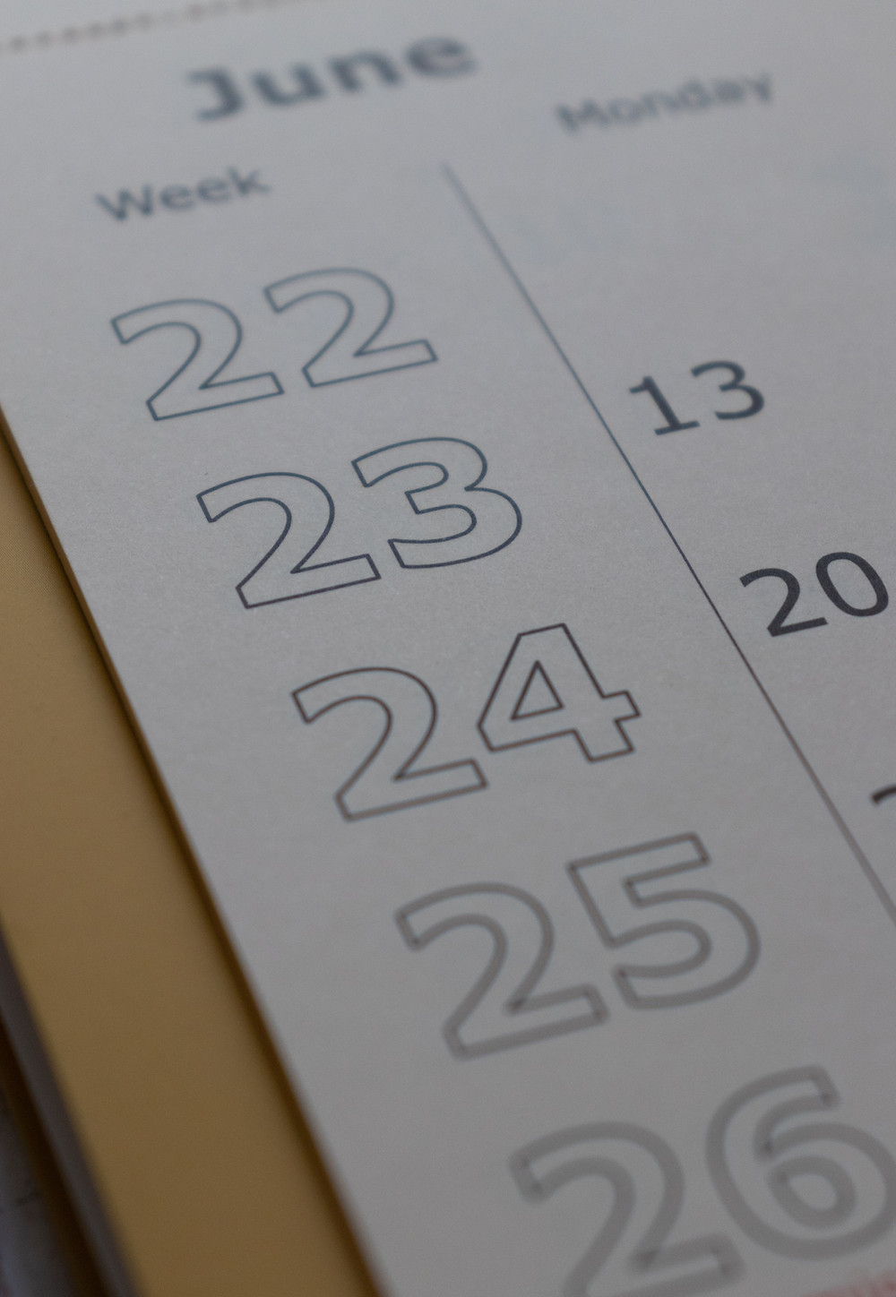 Calendar for June with dates