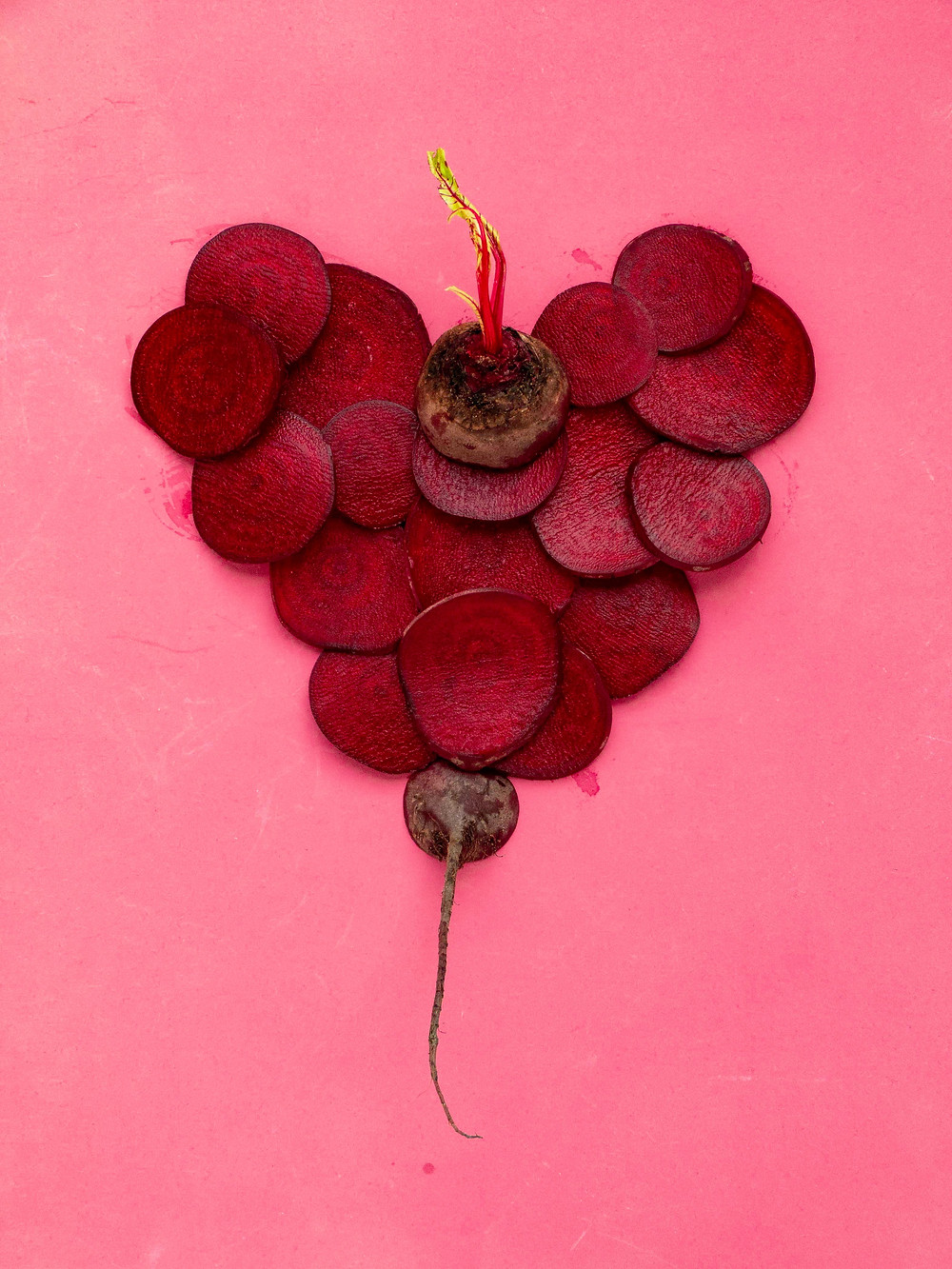 heart shaped beetroot pink red
