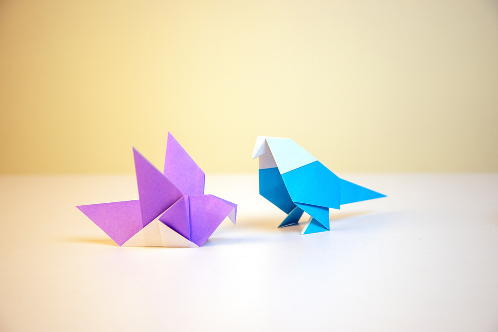 Example of two Origami birds