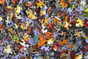 A colorful pile of puzzle pieces