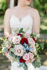 Pink, red and blue bridal bouquet