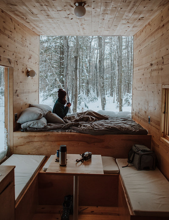 lodge, home, warm, safe, tea, nature, wood, sturdy, woman, space, creation, belonging