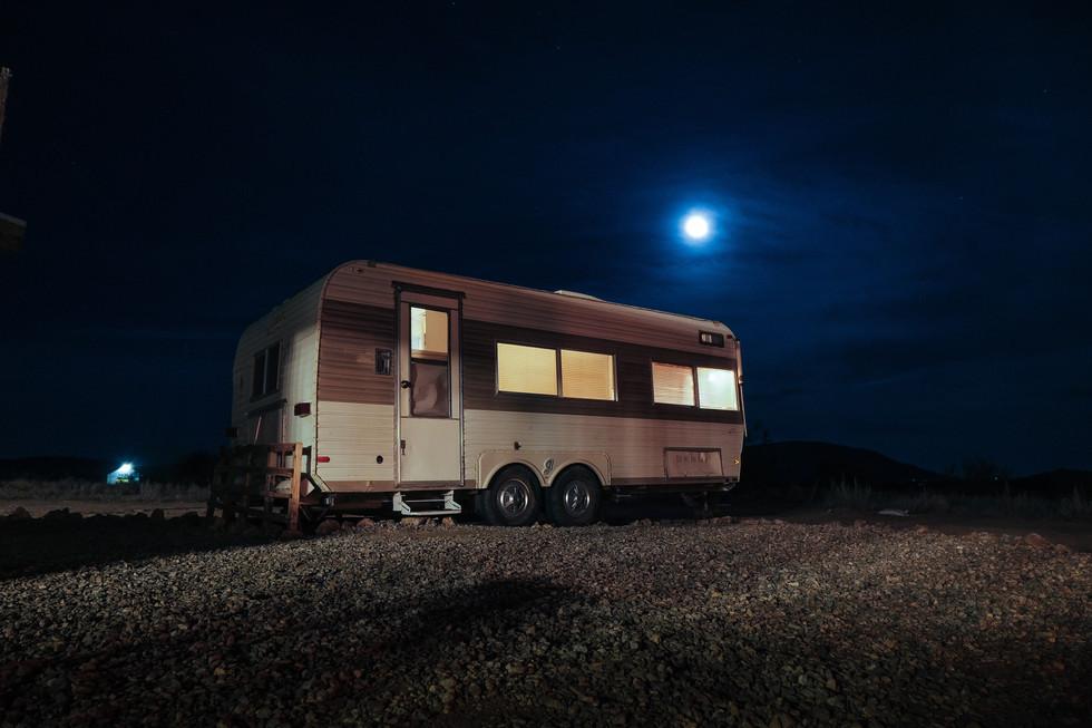 Caravan at night