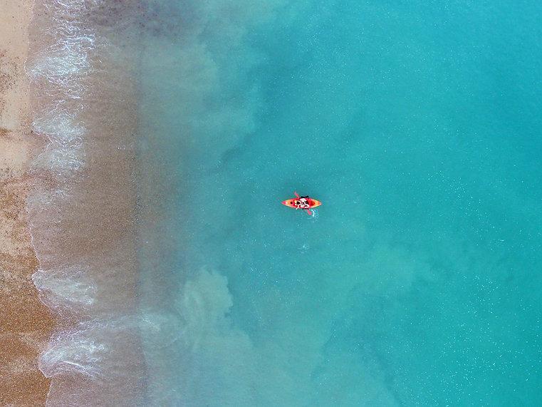 kayakers aerial