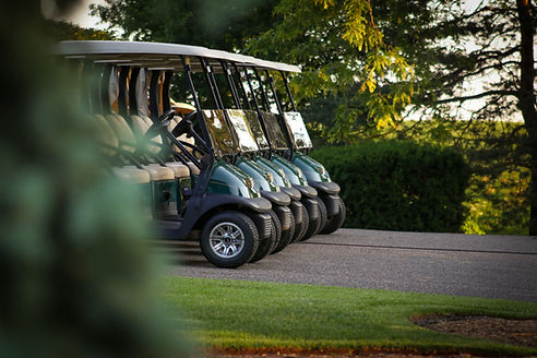 Hidden valley resort golf carts lined up for a corprate or group event 45 minutes north of Melbourne