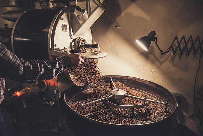 Coffee roaster roasting sumatra beans.