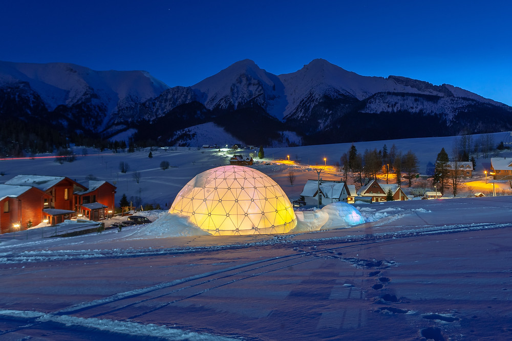 An igloo in the cold winters of Sweden