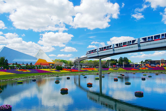 Monorail at EPCOT during Flower and Garden Festival