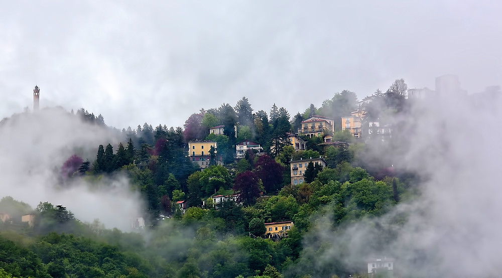 This is an image of houses on a hill, shrouded in mist.