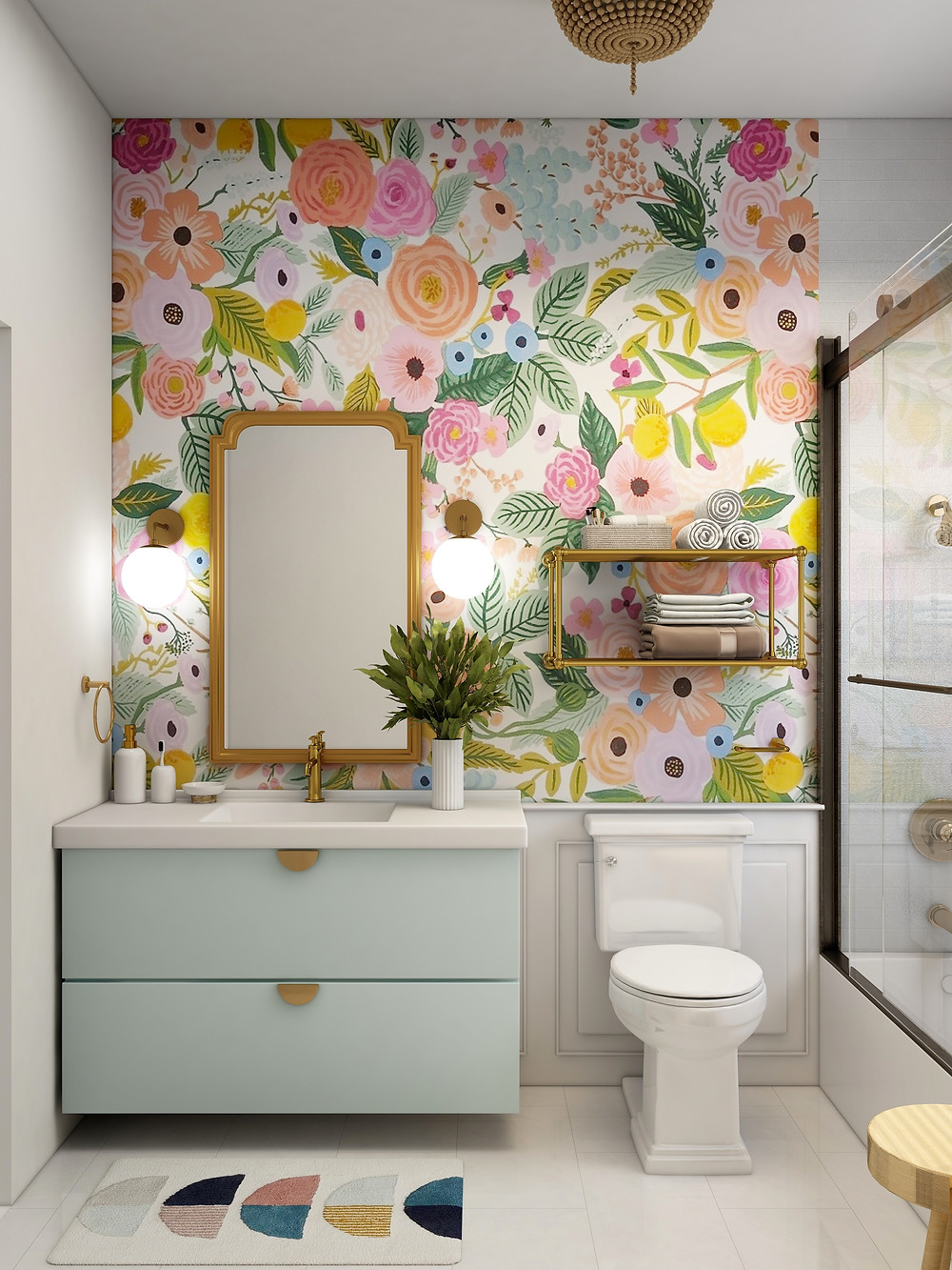 Colors usually add interest in bathrooms. Carpets and wallpapers, also do magics.