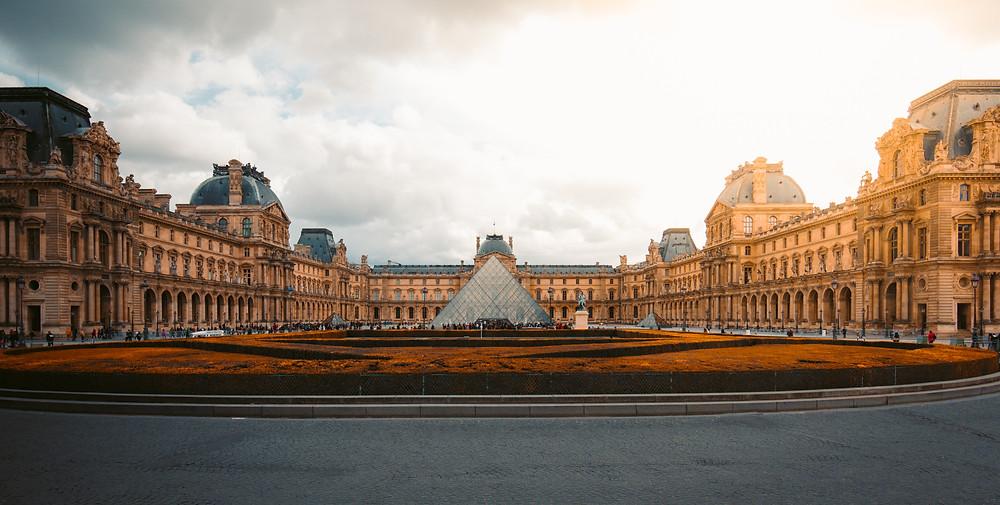 the massive Louvre palace
