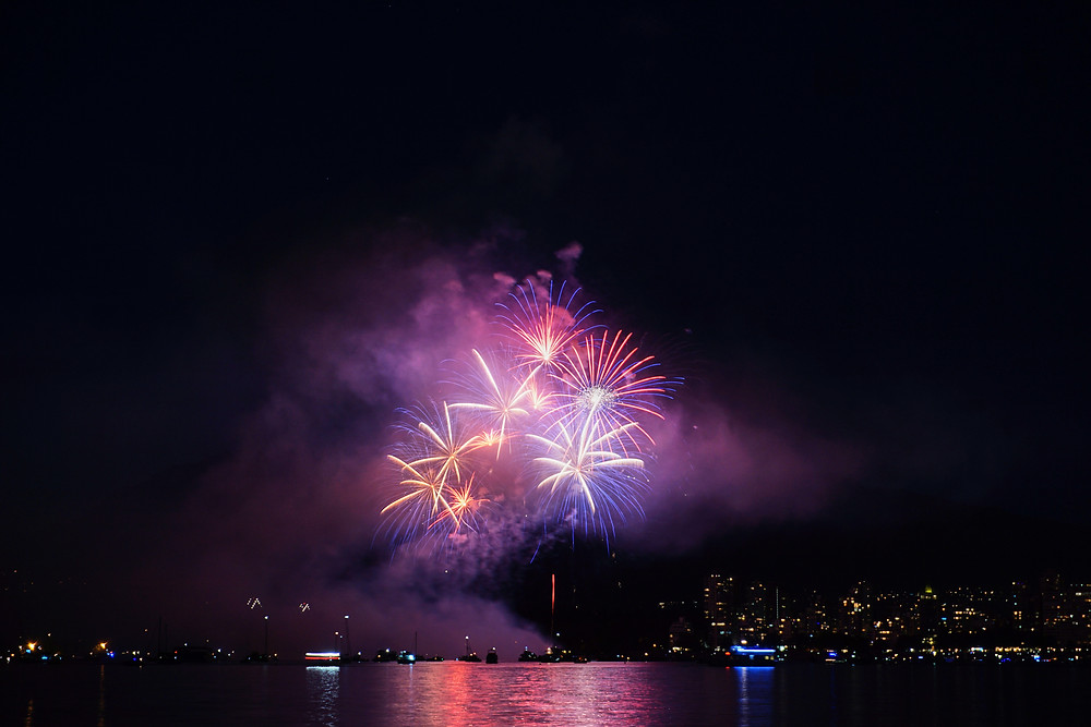 Evento Celebration of Lights, visto de Kitsilano Beach em Vancouver, Canadá