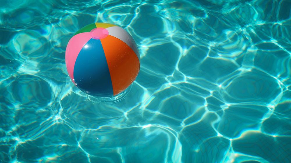 Pool floaty in pool