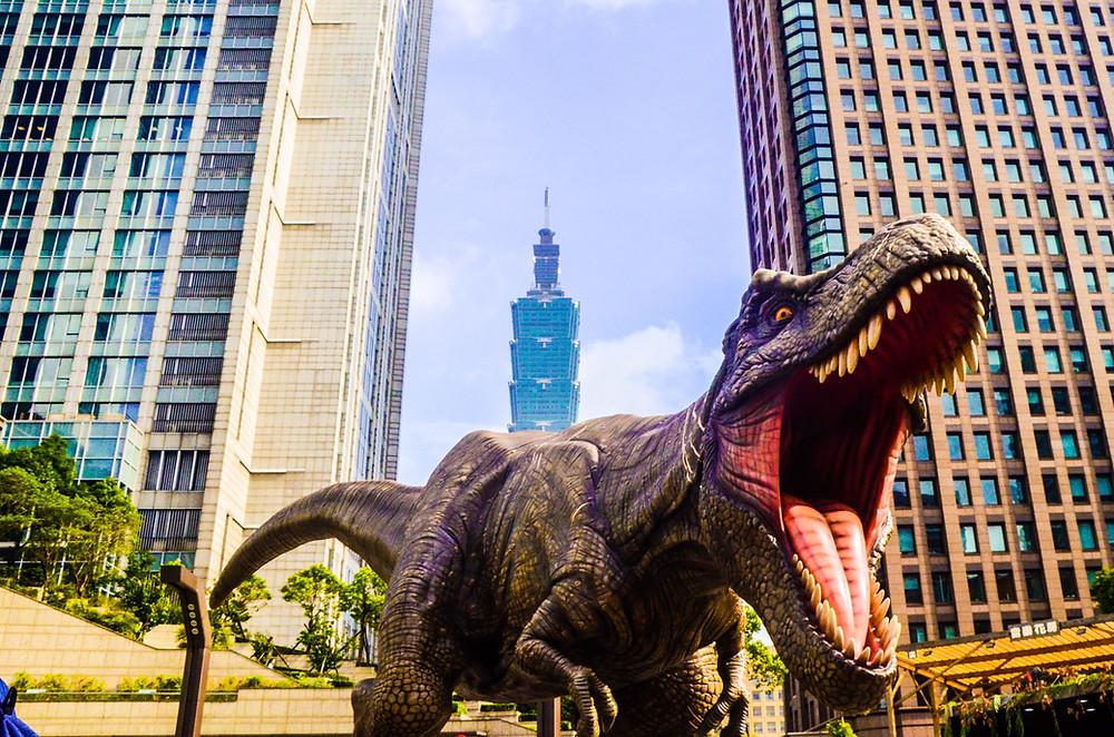 a roaring dinosaur