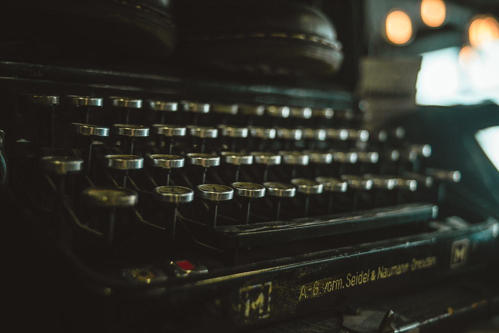 black typewriter closeup