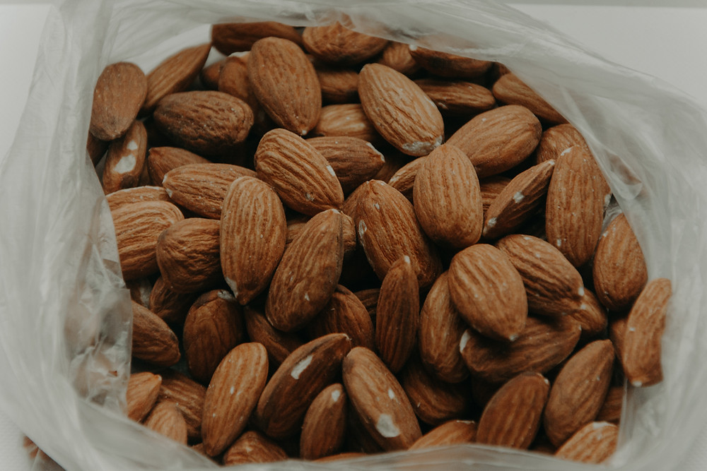 almonds, bag of almonds, nuts