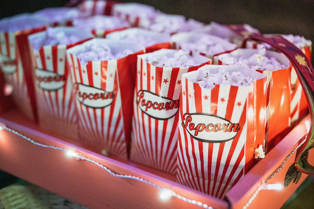 concessions tand popcorn red white stripe bags