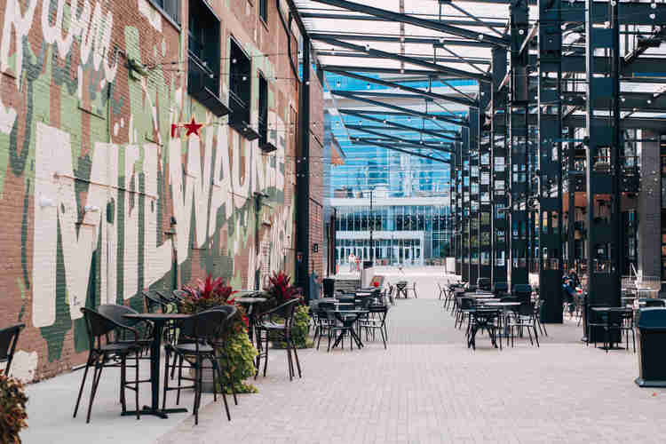 The Deer District outside of the Fiserv Forum is a great place to walk around downtown.
