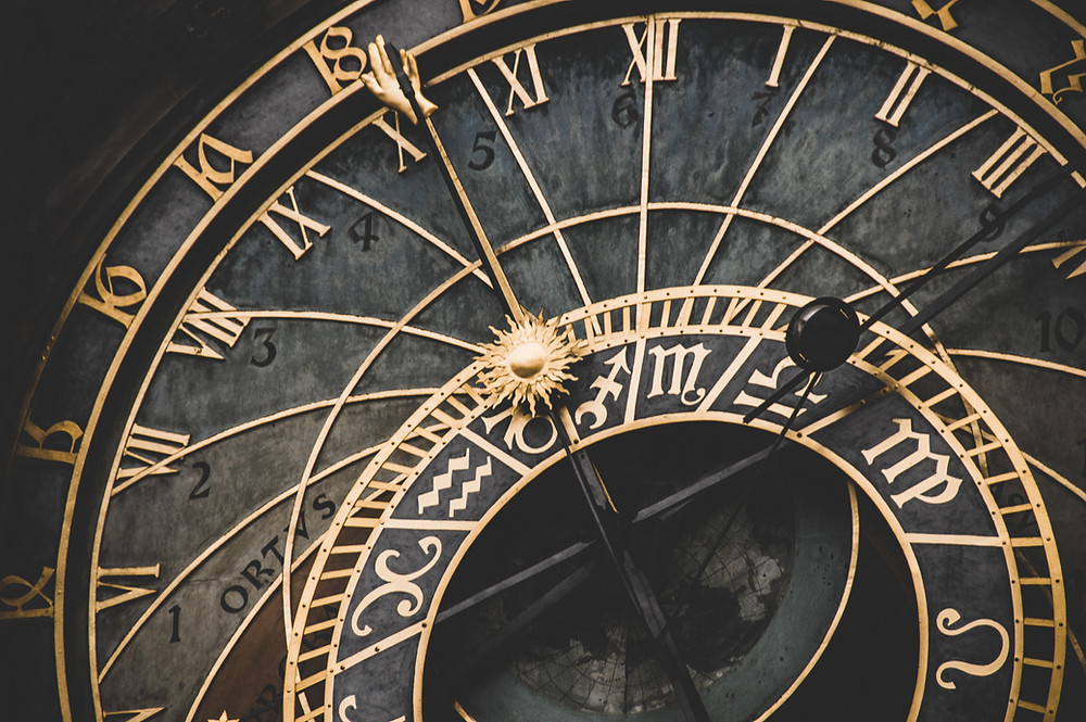 This is an image of the clock face of the town clock in Prague.