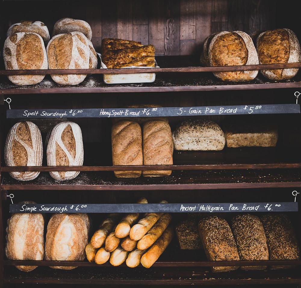 Artisan bread on display