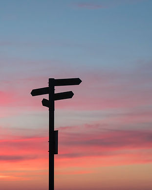 Sunset with street signs in silhouette. Image by Javier Allegue Barros