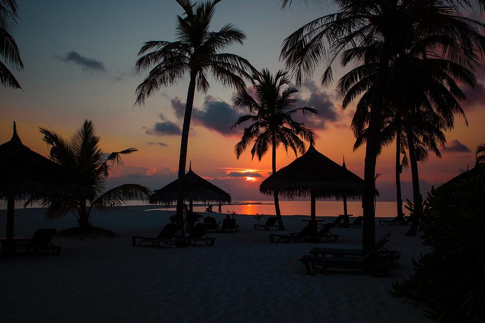 tropical island sunset