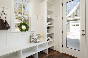 Entry Way Mud Room with White Bench and Cubbies Image by Douglas Sheppard