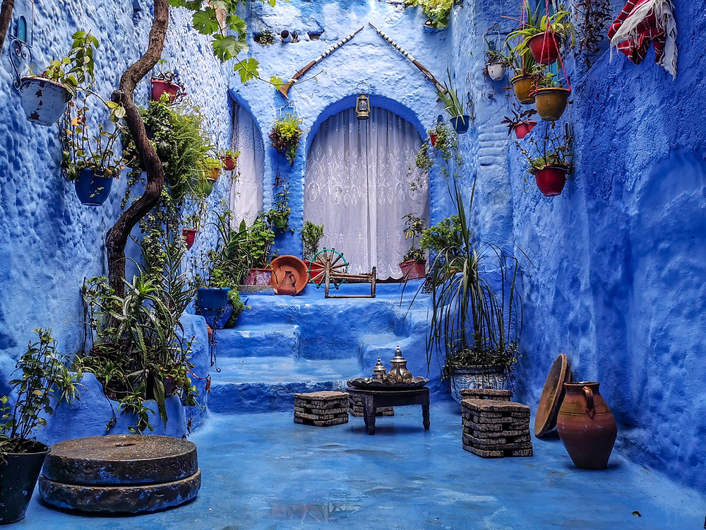 A typical blue coloured Moroccon house