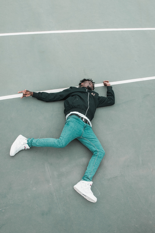 Tired man on floor